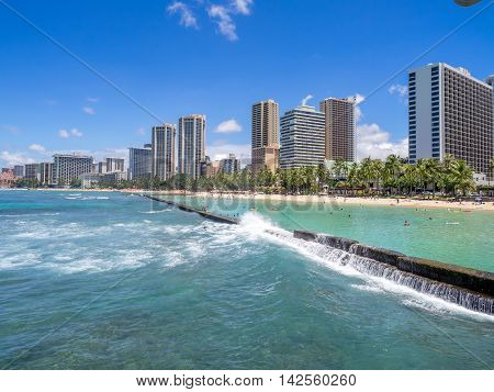 HONOLULU, USA - AUG 8: Sun lovers on Waikiki beach on August 8, 2016 in Honolulu, Usa. Waikiki beach is neighborhood of Honolulu, best known for white sand and surfing.