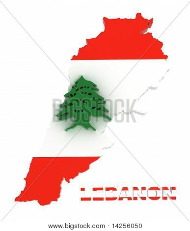Lebanon, Map with Flag, Isolated on White with Clipping Path