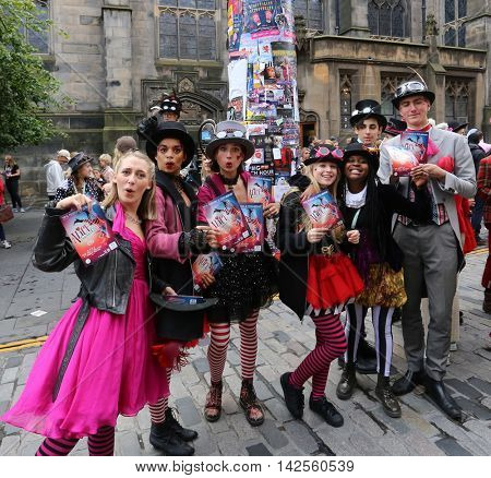 EDINBURGH- AUGUST 13: Members of Young Pleasance publicize their show Alice Unhinged during Edinburgh Fringe Festival on August 13, 2016 in Edinburgh, UK