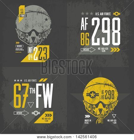 Modern American air force old grunge effect tee print vector design set.