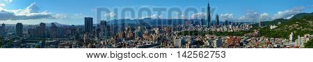 Super wide panorama of the modern city of Taipei, the capital of Taiwan