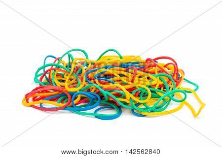 Colorful rubber bands  gum on white background