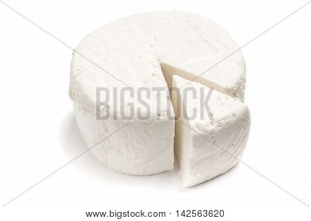 Fresh Ricotta cheese over a white background