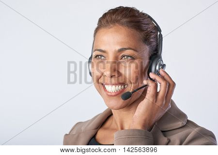 Portrait of asian woman with headphones Consulting and assistance service hotline