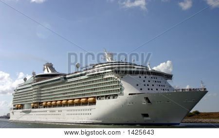 Cruise Ship Leaving Port For A Dream Vacation