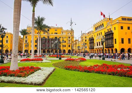 Lima, Peru - January 31: Plaza Mayor In Historic Center On January 31,2015 In Lima, Peru. It Is Surr