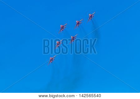 August 6 2016. Ryazan Russia. The aircraft of the Military Air forces of Russia perform aerobatics at an Airshow. Documentary Editorial Image.