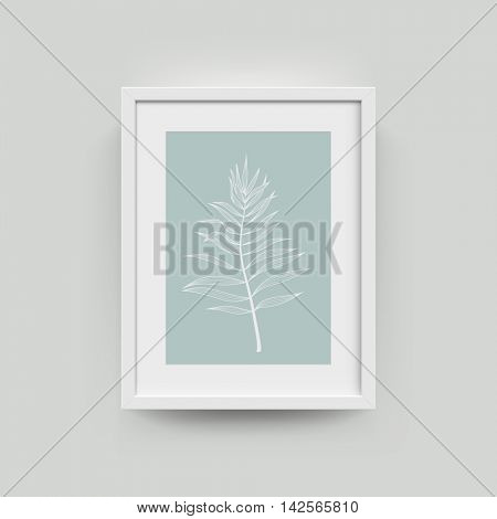 Picture frame with tropical palm leaf photograph. Vector realisitc paper plastic white picture-framing mat with wide borders shadow. Isolated picture frame A3, A4 vertical mockup template on gray