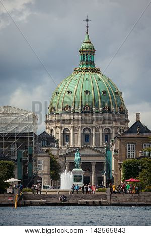 Copenhagen Denmark - Jul 29 2015: Frederik's Church or The Marble Church is a rococo Evangelical Lutheran church in Copenhagen Denmark.