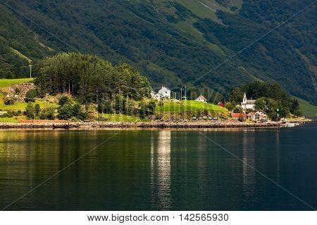 Fantastic Scenery Of Scandinavian Mountains And Norwegian Village, Flam