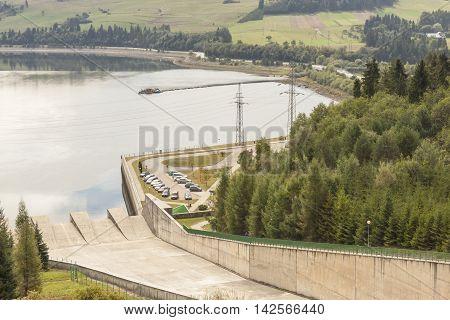 Hydropower station on Czorsztynski lake. Czorsztyn Poland.