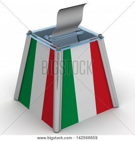 The ballot box with the flag of Italy. Ballot box to vote with the flag of Italy and ballot sheet is on the white surface. Isolated. 3D Illustration