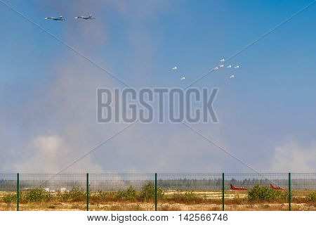 August 6 2016. Ryazan Russia. Russian army airplane drops bombs at military exercise. Documentary Editorial Image.