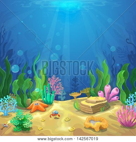 Underwater landscape. The ocean and the undersea world with different inhabitants, corals and starfish, marine life vector for game design
