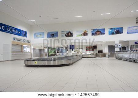 LONGYEARBYEN NORWAY - NOVEMBER 3:Interior of Svalbard Airport on november 3 2014 in Longyearbyen. The airport has biggest passenger flow in Svalbard Norway.