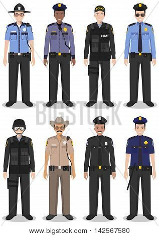 Detailed illustration of sheriff, SWAT officer and policeman in flat style on white background.