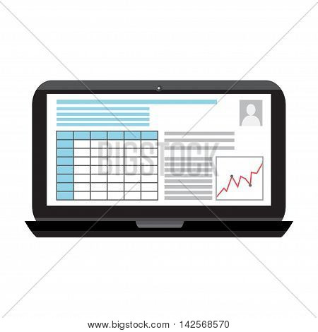 Business infographics image on a black laptop screen.