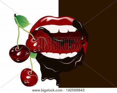 Fresh red cherries in beautiful woman mouth