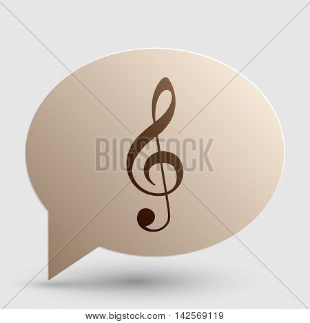 Music violin clef sign. G-clef. Treble clef. Brown gradient icon on bubble with shadow.