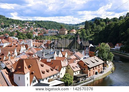 CESKY KRUMLOV, CZECH REPUBLIC - JUNE 18, 2016: Top view of Cesky Krumlov Czech Republic