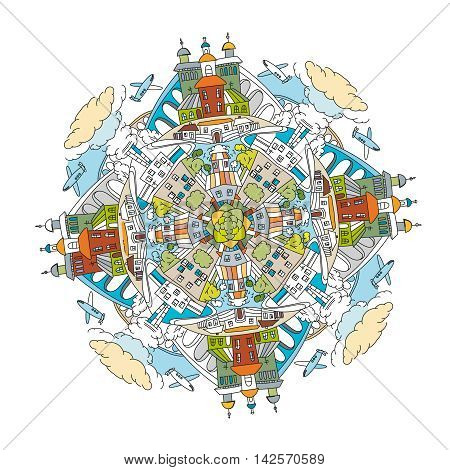 Handdrawn doodle city mandala image. Decorative ornamental vector illustration in oriental style. Colorful bright concept. Useful for coloring book, poster or children book creative design