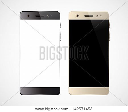 Two smartphones isolated on white background. Cell phone mockup design. Mobile phone with blank screen. Vector illustration.