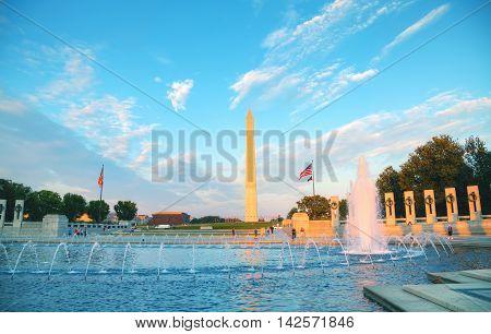 WASHINGTON DC - SEPTEMBER 1: World War II Memorial with people on September 1 2015 in Washington DC.