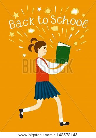 Cartoon schoolgirl running with a book. Including back to school title. Education illustration for your design.