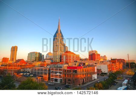 The downtown Nashville early in the morning