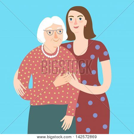 Lovely cartoon grandmother and young woman hugging each other. Family and relationships vector illustration for your design.