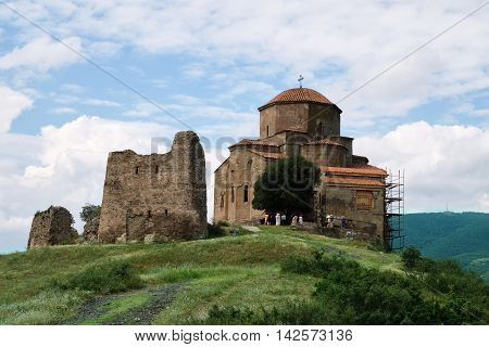 6th century orthodox Jvari Monastery standing on mountian in Mtskheta Georgia