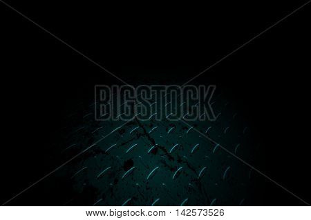 green diamond plate drops of paint in black shadow background. 3d illustration.