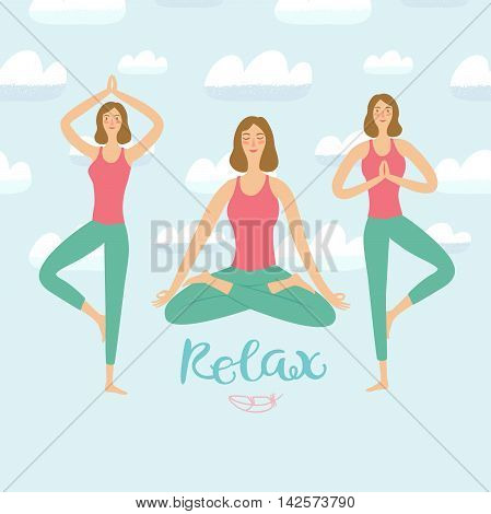 Cartoon girls doing relaxing yoga exercise set. Including decorative clouds on blue background. Relaxation illustration for your design.