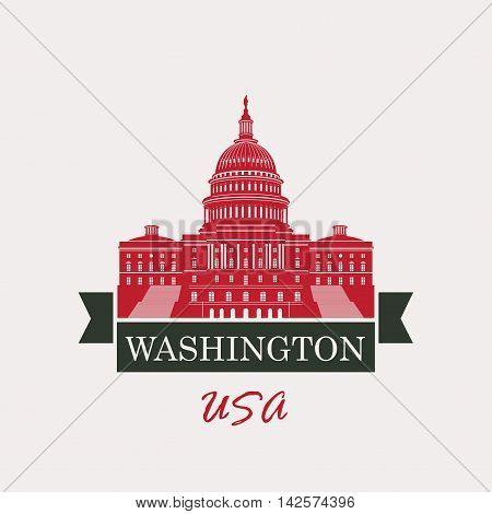 Vector illustration Capitol Building in Washington DC with flag USA