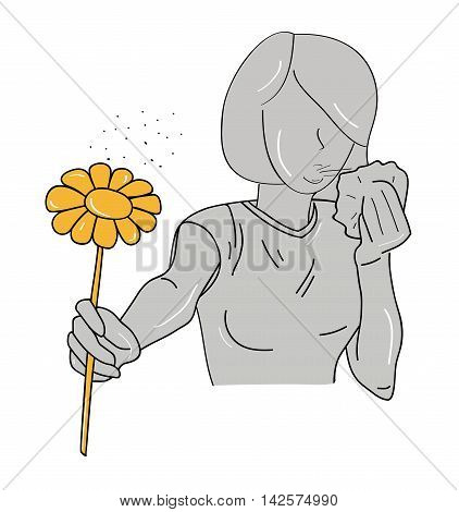 silhouette of a girl with an allergy to pollen. vector illustration
