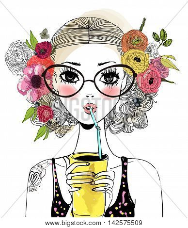 portrait of cute cool girl with floral wreath and drink