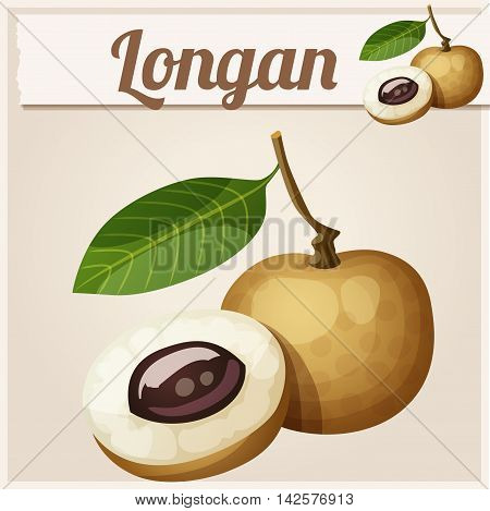 Longan fruit. Cartoon vector icon. Series of food and drink and ingredients for cooking.