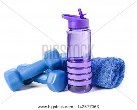 fitness dumbbells and water isolated on white background