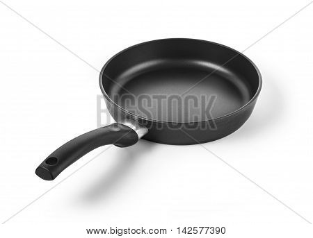 black frying pan. Isolated on a white background with clipping path