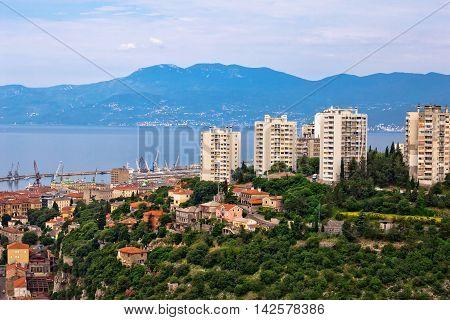 Skyscrapers and bay of Rijeka view Kvarner Croatia