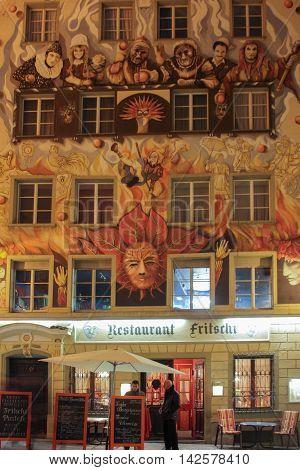 Lucerne, Switzerland - Novembre 24 2016. Nice fasade of Rosti restaurant