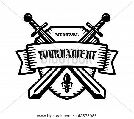 Medieval tournament fight sport vector logo. Knight pirate buccaneer warrior sword mascot. Black and white badge shirt design.