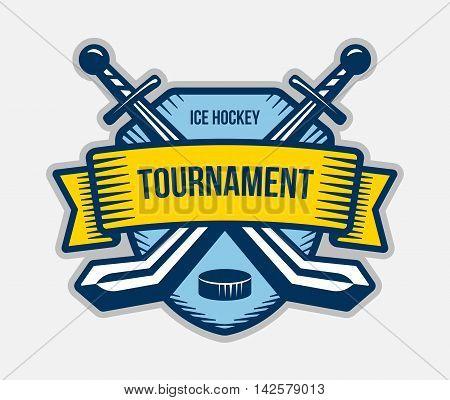 Ice hockey vector logo. Winter team sport tournament. Knight pirate buccaneer warrior sword mascot. Color badge shirt design.
