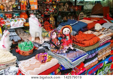 LIMA PERU - JANUARY 31: Display of traditional souvenirs at the market on January 312015 in Lima Peru. Lima is the capital and the largest city of Peru.