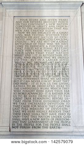 Stone tablet inside the Abraham Lincoln Memorial in Washington D.C.