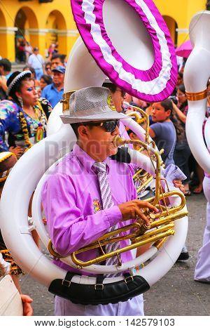 Lima, Peru-february 1: Unidentified Man Plays Sousaphone At Festival Of The Virgin De La Candelaria