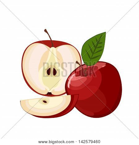 Ripe red apple with leaf and slice vector. Set of red apple fruits with cut and green leaves. Vector sweet nature green and red apple fruit fresh juicy organic food. Red apple with leaf and slice.