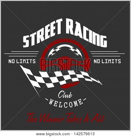 Street Racing club badge and design elements. Vector illustration in Monochrome style.