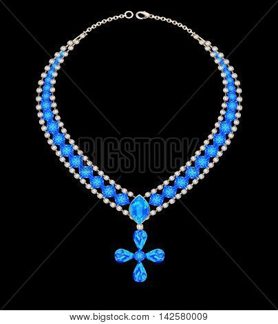 illustration blue necklace with a cross from jewels