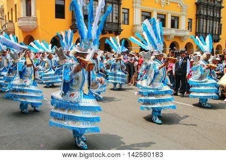 Lima, Peru-january 31: Unidentified Men Perform During Festival Of The Virgin De La Candelaria On Ja